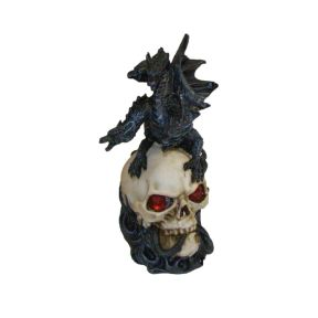Three Headed Black Dragon On Skull - 24cm